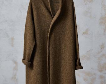 Long WOOL CARDIGAN, Brown knitted wool jacket, Long wool coat, Knit coat, Long wool jacket, Cozy winter coat, Long natural wool cardigan