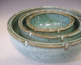 Turquoise Nesting Bowls-Set of Three by misunrie