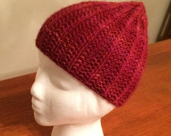 Coral Ribbed Hat ~ Hand Knitted Hat