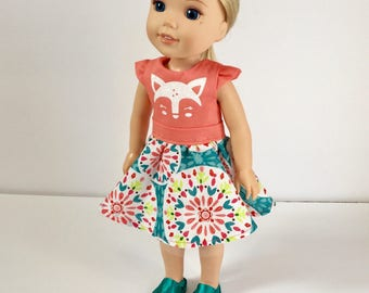 Wellie Wisher dolls. Deer face doll dress. 14 inch doll deer dress. Coral and print dress. Handmade. Gift for girls.