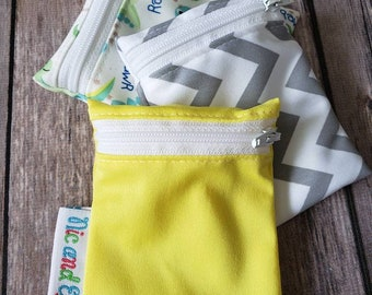 Wetbag Minis Set of 3 ~ Travel Size Mini Zippered Yellow WetBag ~ Binky Bag ~ Cosmetic Purse Bag