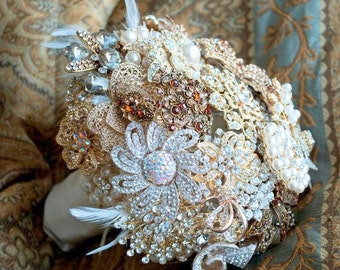 Brooch Bouquet - Crystal Bouquet - Custom Bouquet - Bridal Bouquet - Broach Bouquet - Wedding Bouquet - Personaized Bouquet - Deposit