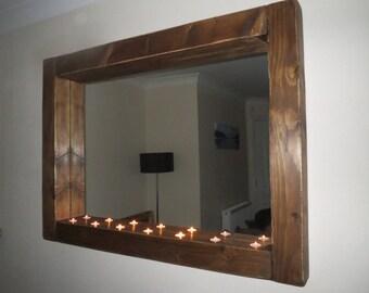 Handmade Chunky Framed Mirror with Tea light holders