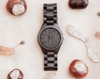 Personalized black wooden watches,Engraved Wood watch gift,Custom black Wood watch men,Wood watch black men,Engraved black Wood watch men