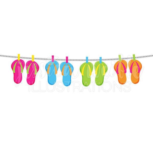 String of Flip Flops Cute Digital Clipart, Cute Flip Flops ...