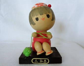 1033 :Kokeshi doll, Vintage Japanese wooden Sosaku Kokeshi doll ,Marked, Handcrafted in Japan