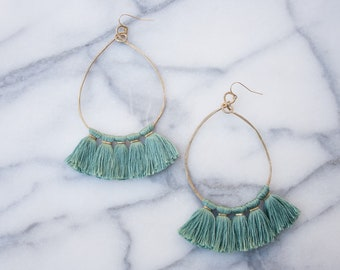 Hoop Green Tassel Earrings