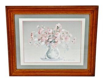 Vintage Framed Rosalind Oesterle Floral Still Life Watercolor Print