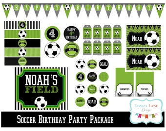 Soccer Birthday Party Printable Package, Soccer Birthday Party, Football Birthday Party, Soccer Birthday, Soccer Ball