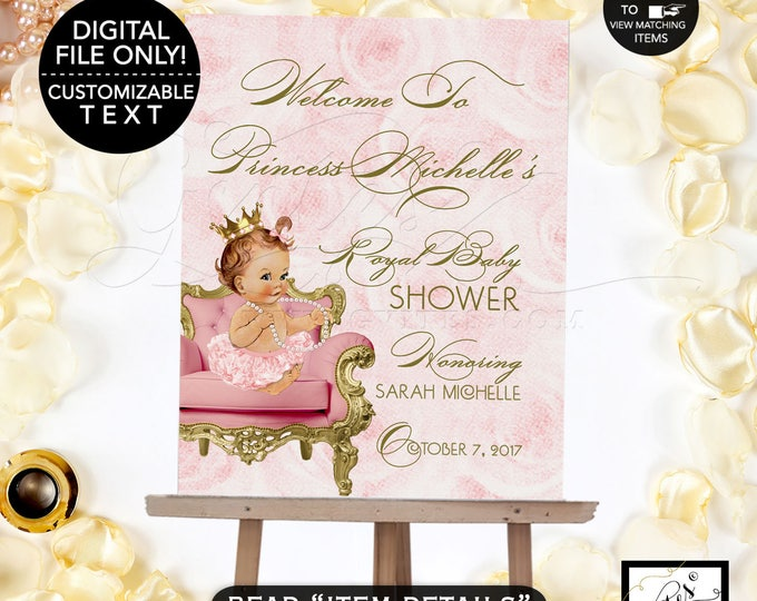 Pink and Gold Baby Shower Welcome Sign, Princess Royal Baby Shower Poster Sign, Princess Vintage Baby Shower Printable, DIGITAL FILE ONLY!