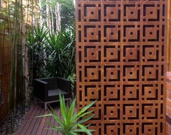 metal  rust look art oriental feature wall panel alfresco garden steel