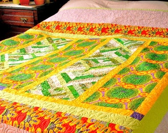 """Queen Quilt Bright Sunny Colors """"Midday Summer Garden"""" Patchwork Bedding"""