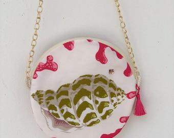 Pink & Green Coral Round Purse