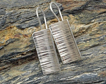 Sterling silver earrings, entirely hand-forged. Size cm cm 3 x 1.