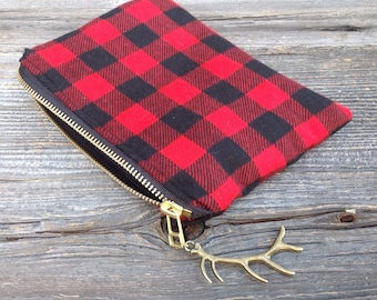 Antler Clutch, Buffalo Plaid Clutch, Christmas Gift, Gifts Under 25, For Her, Pouch, Red Black Plaid Clutch, Metal Zippered Pouch, Holiday