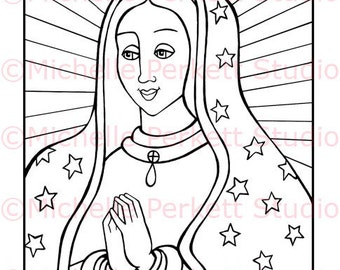 Digital Stamp  Catholic Christian Cardmaking Scrapbooking Blessed Mother Mary Our Lady of Guadalupe