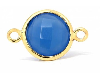 Dark Blue Chalcedony Gemstone Bezel Connector Gold Plated Sterling Silver 12mm - 1pc Good Quality Wholesale price (7907)/1