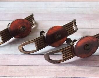 Vintage Set of 3 Bakelite and Metal Art Deco Drawer Pulls Decorative Knobs, Cabinet Knobs, Furniture Restoration, Home Improvement