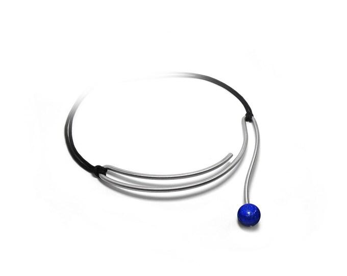 Lapis Lazuli Contemporary unique Wire Necklace