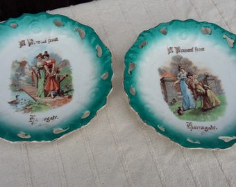 2 Pair Vintage Ribbon Plates. A Present From Harrogate. 2 Victorian Ladies