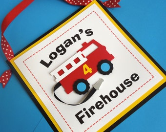 Fire Truck Birthday Party Door Sign (Personalized)