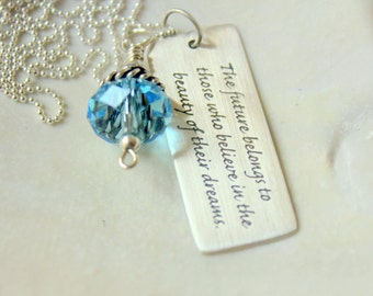 Believe Necklace - Future Quote Necklace -  Graduation 2015 - Pendant - Personalized Gift Her- Inspirational Pendant - High School