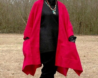 Red Faux Suede Wrap with Pockets--Poncho, Serape, Cape or Shawl--Fun and Lightweight--Year Round Wear--Red on Red Zebra Design--One Size