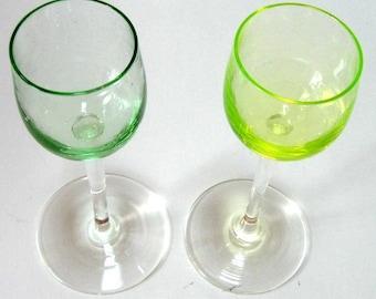 Vintage Glass Cordials Stems Citrus Green
