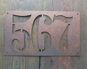 Rustic House Number/ House Numbers /  Rustic Address Plaque / Home Address / Sign Plaque / Horizontal House Number Plaque / Door Number