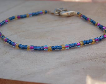Simple multi-colored beaded bracelet