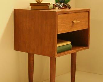 Mid Century Nightstand/ Bedside Table/ Scandinavian Design/ Custom Made/ Handmade