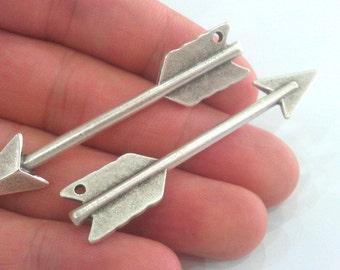 2 Silver Pendant Arrow Pendant Antique Silver Plated 2 Pcs (65x14 mm.)  G11591