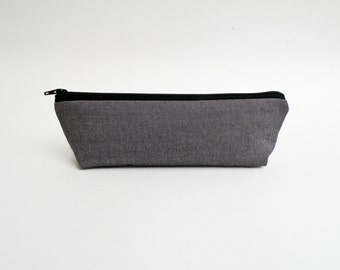 Charcoal Gray Pencil Case - Minimalist Zipper Pouch - Mens Bag - Back to School Supplies