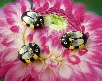 SHIPS FREE-painted rocks Bumble bee spring Mothers Day gifts whimsical garden decor fairy garden accessory yellow black honey bee ooak art