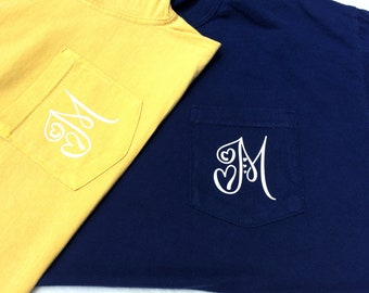 Comfort Colors Pocket Tee With Heart Initial - Choose Color - Personalized Pocket Tee - Monogram Pocket Tee - Custom Pocket Tee - Gift Ideas