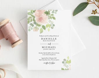 Floral Wedding Invitation Template, Wedding Invitation, Wedding Invitation Suite, Bliss Paper Boutique, PDF Instant Download #BPB333_1