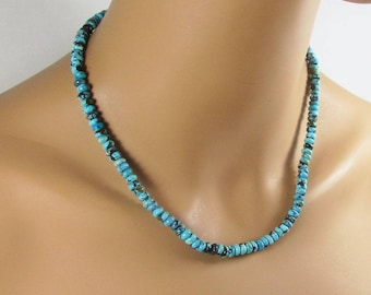 Genuine Turquoise, Beaded Necklace, Turquoise Necklace, Men's Necklace, Woman's Necklace, Real Turquoise, Authentic Jewelry, TQ211