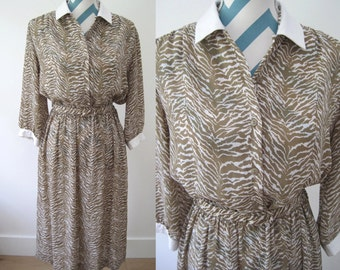 Vintage 1970s Zebra Print Dress - Long Sleeves - Polyester Wrap Dress Style - Tan Brown - Medium