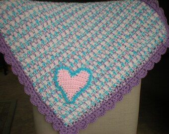 "Easy Crochet Baby Blanket Pattern - ""Close to My Heart"" - Quick & Cozy - PDF Pattern"