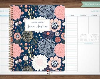 2018 2019 teacher planner 2018-2019 planner teacher lesson plan TEACHER PLANNER - TABS weekly calendar agenda / navy pink gold floral