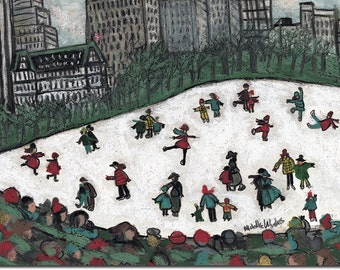 Boxed Holiday cards: Skating in Wollman Rink NYC, whimsical, colorful  reproductions of original artwork by Michelle Winters