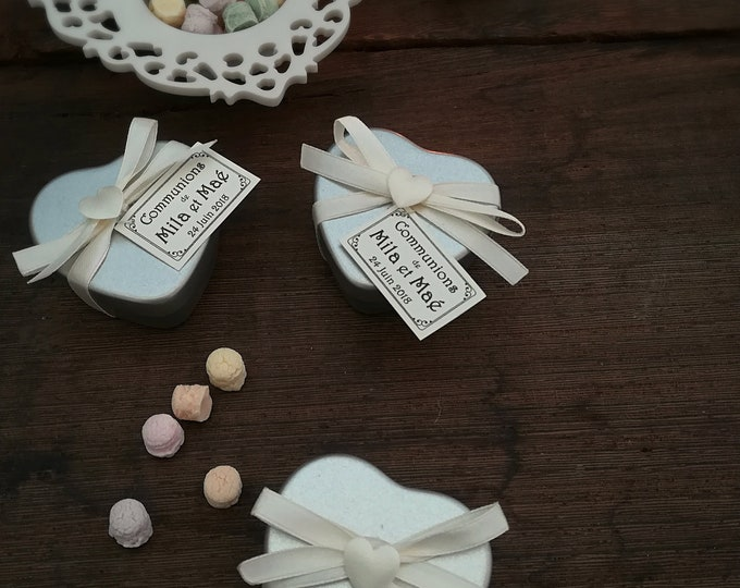 Tin Candle Heart, Wedding Placeholder, Soy Wax Tin Heart, Custom Label and scent, Place holder,  Mini Custom Candle , Wedding, Baby Shower