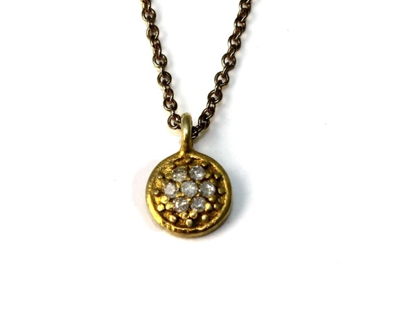 Pave Diamond Disc Necklace with Gold Vermeil  , Sterling Silver or Black Oxidized Sterling Silver Chain NS-1965