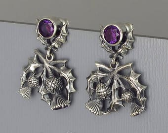 Blooming Thistle silver earrings with Amethysts - Ready to ship