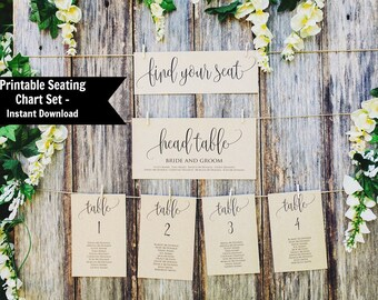 Wedding Seating Chart Template, Wedding Seating Chart Printable, Wedding Seating Cards,  Instant Download, Find Your Seat Sign,  Set 1-30