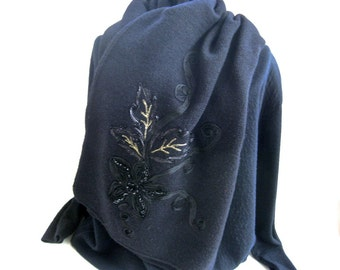 Vintage Black Scarf Shawl • Hand Embroidered Knit • Ribboned Beaded Design
