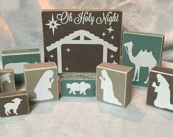 Wood Block Nativity Scene
