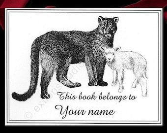 Bookplates Lion and Lamb 15 Personalized Ex Libris Booklabels