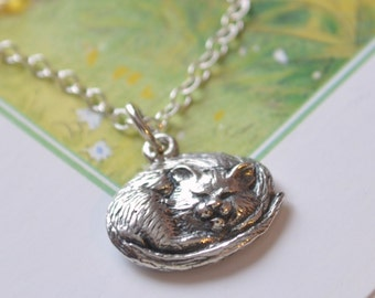 Sterling Silver Cat Necklace, Sleeping Kitty Charm, Remembrance, Pet Loss, Memorial, Birthstone, Child Jewelry