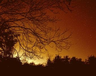 Autumn Night Series, HDR photograph, Orange and black, Fine art photographs, The Progression of Autumnal Night (Setting Sun)